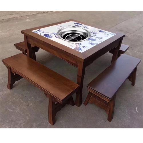 老火锅中式仿古实木镶嵌大理石八仙火锅桌