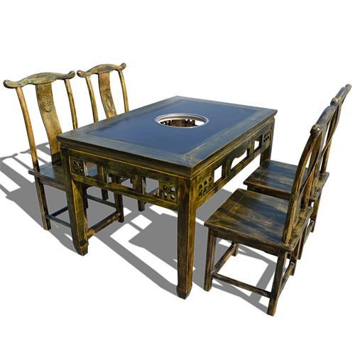 仿古雕花松木火锅桌 煤气灶电磁炉实木火锅桌椅 农家火锅店餐桌