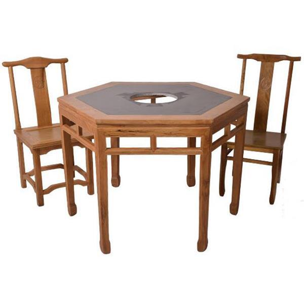 中式明清仿古家具实木火锅桌 榆木六角异形餐桌