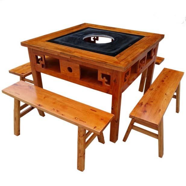 麻黄实木大理石火锅桌椅电磁炉液化气火锅桌凳子仿古火锅桌子
