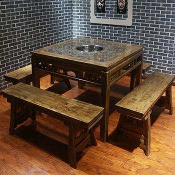 仿古茶青色做旧实木大理石火锅桌-大理石火锅桌椅厂家直定制