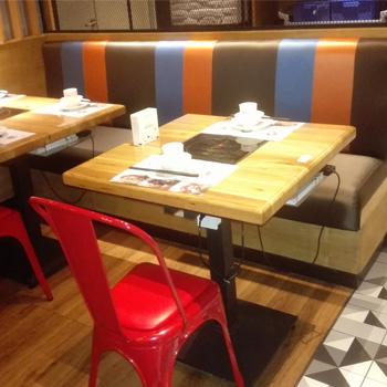 电磁炉火锅桌椅 经典方形实木火锅桌 主题火锅餐厅桌椅组合定制