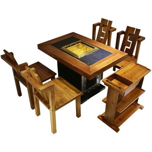 老榆木仿古实木新中式下沉式无烟净化火锅桌椅