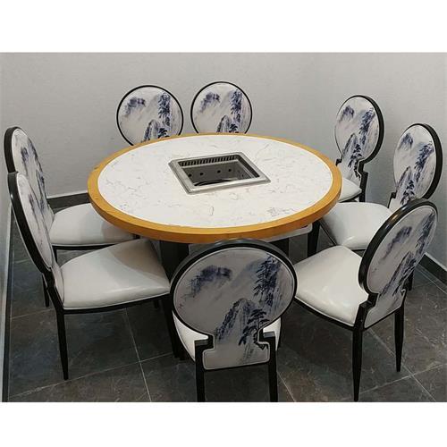 实木边框镶嵌大理石台面8人位无烟火锅桌