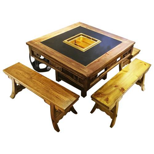 大龙焱仿古实木新中式无烟净化火锅桌子