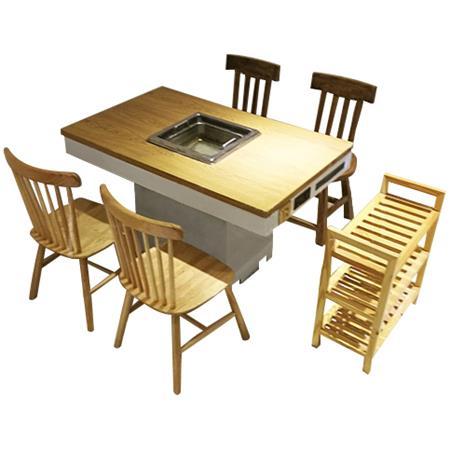 实木电磁炉下沉式无烟净化火锅桌椅