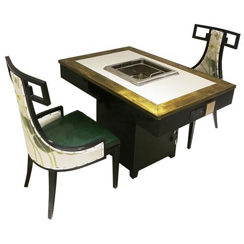 实木嵌大理石电磁炉无烟净化火锅桌