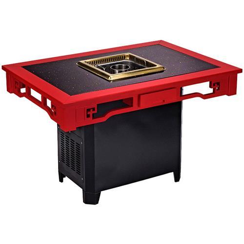 无烟净化火锅桌椅新款桦木嵌深色石材无烟火锅桌