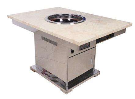 火锅店现代不锈钢大理石无烟火锅桌