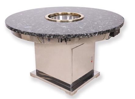 包厢豪华不锈钢大理石圆形无烟火锅桌